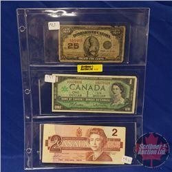 Canada Bills - Sheet of 3: 1923 Shinplaster ; 1967 $1 ; 1986 $2 (See Pics for Signatures & Serial Nu