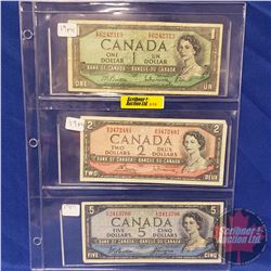 Canada Bills - Sheet of 3: 1954 $1 ; 1954 $2 ; 1954 $5 (See Pics for Signatures & Serial Numbers)