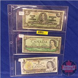 Canada $1 Bills - Sheet of 3: 1937; 1954; 1973
