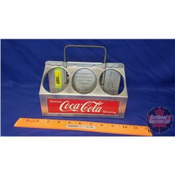 "Coca-Cola Alum. 6 Bottle Carrier ""Delicious"" ""Refreshing"" c.1950's  (6-1/2""H x 8""L x 5-1/2""D)"