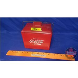 "Coca-Cola Miniature Picnic Cooler (Plastic / Wire Handle) Sample / Toy (5""H x 5-1/2""W x 4""D)"