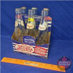 "Drink Pepsi Cola Cardboard Bottle Carrier with Bottles (Double Dot Carrier) (9-1/2""H x 7-3/4""W x 5-1"