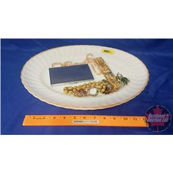 Collector Combo: Anchor Hocking Platter with Gilded Edge, Costume Jewellery Pieces, WAMS Razor, Ciga