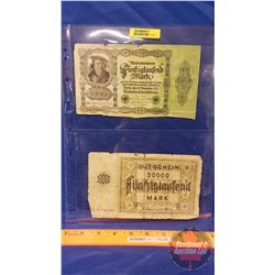 German Bills - Sheet of 2: 1922 Reichsbanknote 50000 & 1923 Gutschein Mark 50000
