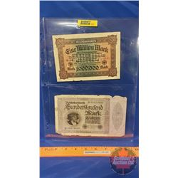 German Bills - Sheet of 2: 1923 Reichsbanknotes 1000000