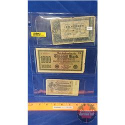 Foreign Bills - Sheet of 3: 1938 Netherlands 2.50 Zilverbon 1938 Banknote ; 1922 German Reichsbankno