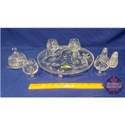 Pinwheel Crystal : Cake Plate, 4 Brandy Snifters, S&P, Butter Dish