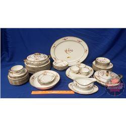 """China Set """"LIMOGES ELITE France"""" : Large Platter; Covered Veg Bowls (2); Gravy Boat; Serving Bowl; S"""