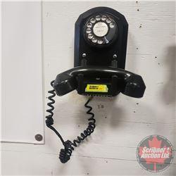 "Rotary Dial Wall Phone (Black) Zealandia Rural Telephone Company (9""H x 6""W x 5-1/2""D)"
