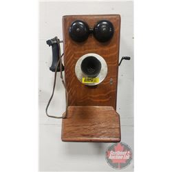 "Wood Box Telephone ""The Northern Electric Company"" Aug 29th 1917 (20""H x 9""W x 8-1/2""D)"