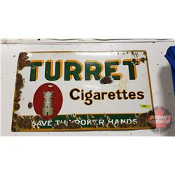 "TURRET Cigarettes ""Save The Poker Hands"" Single Sided Enamel Sign (18"" x 30"")"