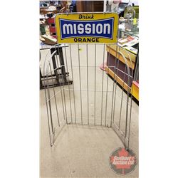 """Drink Mission Orange"" Store Display Pop Case Rack (Double Sided Tin) (51""H x 23-1/2""W x 15""D)"