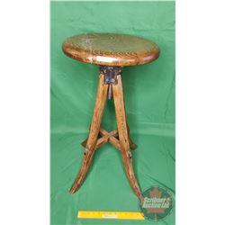 "Oak Bar Stool (29""H Adjustable x 14""Dia Seat)"
