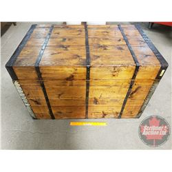 "Wooden / Metal Banded Trunk (23""H x 36-1/2""W x 23-1/2""D)"