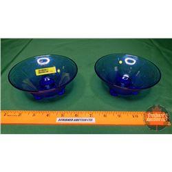 "Hazel Atlas Royal Lace 2 Candle Stick Holders (Cobalt Blue) Depression Glass (2""H x 5""Dia)"