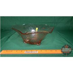 "Hazel Atlas Pink Depression Glass Ruffled Edge Bowl (4-1/2""H x 10-1/2""Dia)"