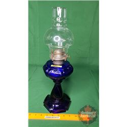 "Coal Oil Lamp: Sweetheart Pattern - Cobalt Blue (17-1/2""H Total Height w/Chimney)"