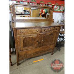 """Oak Buffet / Sideboard - Mirror Back (54""""H x 45""""W x 19""""D)"""
