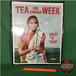 "Framed Cardboard Ad ""Tea For Canada Week"" ""Enjoy Tea Today"" (Frame Size 25"" x 20"")"