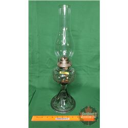 "Coal Oil Lamp: ""White Flame Grand Rapids Mich"" (Purple Hue) (20""H Total Height w/Chimney)"