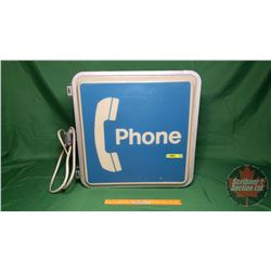 "Light Up Double Sided ""PHONE"" Sign (20""H x 20""W x 8""D) (Note Side Conduit)"