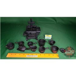 """""""Queen"""" Cast Iron Toy Stove w/Accessories (6""""H x 6""""W x 3-1/2""""D)"""
