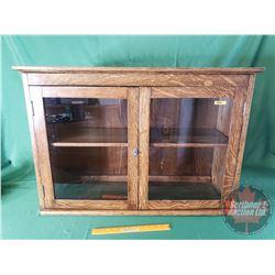 "Oak Display Cabinet / Glass Front Doors (24-1/2""H x 35""W x 12""D)"
