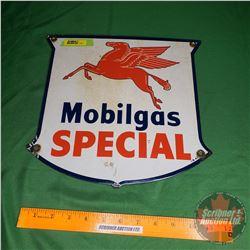 """Mobilgas"" Single Sided Enamel Sign ""IR47"" (12""H x 12-1/2""W)"