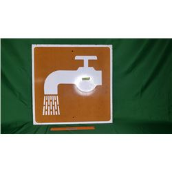"""Campground """"Running Water"""" Image Single Sided Reflective Tin Sign (24"""" x 24"""")"""