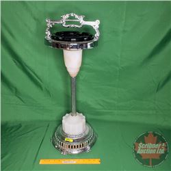 """Standing Ashtray (Nickle Plated / Glass Base) 28""""H"""