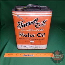 "Farwell O.K. Motor Oil Tin (11""H x 9""W x 5-1/2""D)"