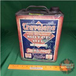 """Travelene Motor Oil Tin (11""""H x 8-1/2""""W x 5-1/2""""D)"""
