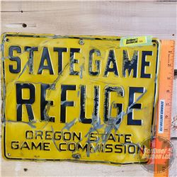 """Single Sided Tin (Embossed) """"State Game Refuge Oregon State Game Commission"""" (10"""" x 12"""")"""