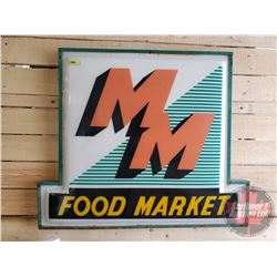 """""""MM Food Market"""" Sign Lens : Metal Frame (36""""H x 43""""W x 1-1/2""""D) (Note: Crack)"""