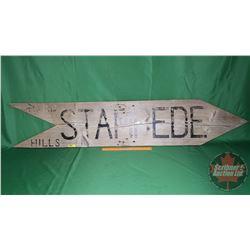 "Vintage ""Hand Hills Stampede"" Wood Arrow Sign (11-1/2""H x 59""W)"