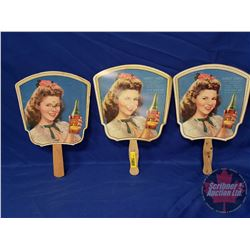 """Shirley Temple R.C. Cola Hand Fans (3) (Rare, Great Condition) (12"""" x 8"""")"""