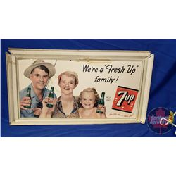 """7-UP Cardboard Ad """"We're a """"Fresh Up"""" Family"""" c.1950's (13""""H x 23""""W) (See Pics)"""