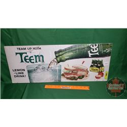 """""""TEEM"""" Cardboard Grocery Store Sign - Litho in USA (See Pic) (11""""H x 28""""W)"""