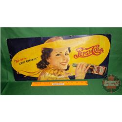 """""""Pepsi:Cola"""" Cardboard Grocery Store Sign """"mmm c'est epatant"""" (10""""H x 21""""W)"""