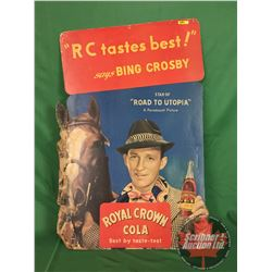 """RC Cola / Promotional Cardboard  Poster : """"Road to Utopia"""" with Bing Crosby (Easel Backed) (38"""" x 25"""