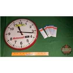 """Motorcraft Ford Clock & Royalite Door Jam Tags (12-1/2""""Dia)"""