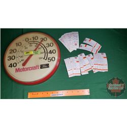 """Motorcraft Ford Thermometer & Gulf Door Jam Tags (12-1/2""""Dia)"""