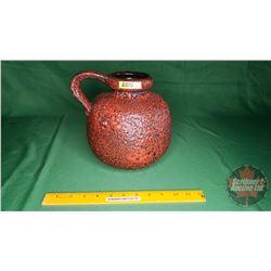 West Germany Fat Lava Handled Vase Mid Century 1950's-1970's
