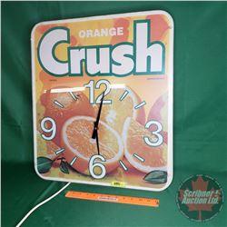 "Orange Crush Light Up Electric Wall Clock (23""H x 20""W x 5""D)"