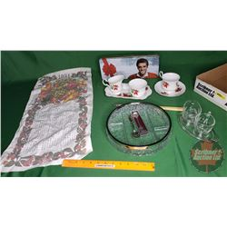 Tray Lot: Queen's Bone China Tea Cup/Saucer, Cream & Sugar & Elvis Candy Tin, Clear Glass Dish, C&S,