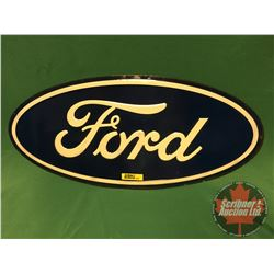 FORD  Oval Single Sided Tin Embossed Sign (9 H x 20 W)