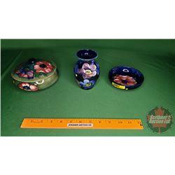 Flowered Dishes (Moorcroft) (2) & Vase (See Pics)