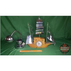 Retro Desk Lamp & Oxford Self-starting Ship Clock (Needs Work) 18 H