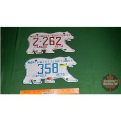 Northwest Territories License Plates (2): 1974 & 1975