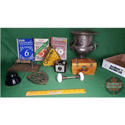 Tray Lot: Unitt's Canadian Antique Price Guides (3), Silver Vase, O-Cedar Mop Tin, Purple Insulator,